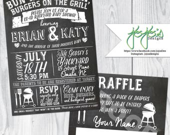 Backyard Co-Ed BBQ Baby Shower, Chalkboard Print Invitation and Diaper Raffle Ticket, Bun in the Oven Burgers on the Grill (Digital File)