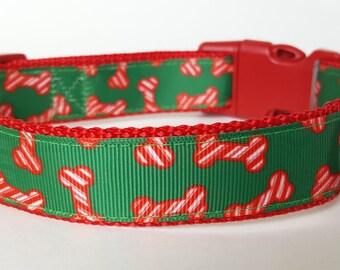 Christmas Dog Bones Dog Collar
