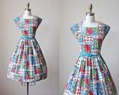 50s Dress - Vintage 1950s Dress - French Cotton Rose Print Full Skirt Sundress S - How Her Garden Grows Dress