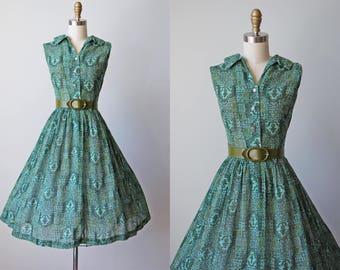 1950s Dress - Vintage 50s Dress - Aqua Olive Voile Cotton Full Skirt Midcentury Modern Print Sundress L - Greener Fields Dress
