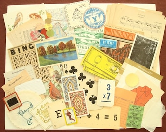 Paper ephemera pack, huge 70 piece vintage scrapbook inspiration pack, postcards, sheet music, bingo & playing cards, scrapper's gift