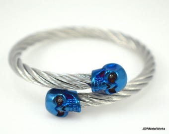 Stainless Steel Blue Skull Bracelet, Stainless Bracelet, Blue Skull Jewelry, Men's Bracelet, Gift for Him, Gift for Her, Gift under 50