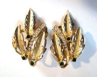 HOLIDAY SALE CLOSING Sale Edwin Pearl signed brushed gold tone clip earrings. Rhinestone faux Emerald Diamond