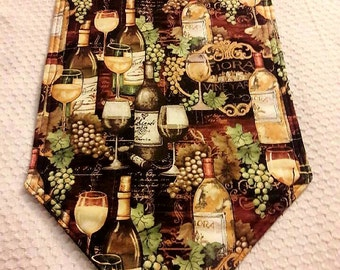 Wine Themed Table Runner 72x14 Reversible and padded