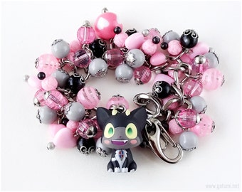 RESERVED for leessie43 - Ao no Exorcist Kuro Charm Bracelet, Pink, Black, Stainless Steel, Chunky Chain, Kawaii Jewelry, Anime Jewellery