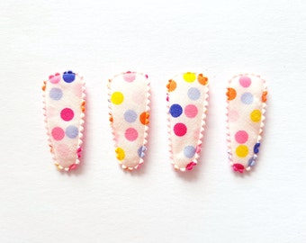 25 pcs - Multi color dot  white COTTON Hair Clip COVERS for toddler -  size 35 mm