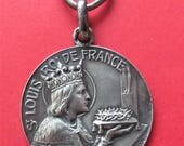 Saint King Louis of France Silver Antique Religious Medal of Honor Crown Of Thorns SS-129