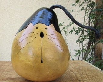 Gourd Kitty Cat Natural Primitive Pumpkin Decoration