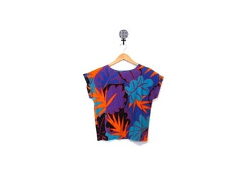 BTS SALE Vintage 80s HAWAII Aloha Cuffed Short Sleeve Boxy Blouse womens Top m l vestiesteam indie boho hipster retro abstract nu wave beach