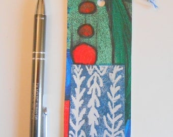 Hand Painted Artsy Bookmark Red Green Blue White