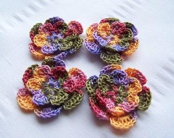 Crochet motif set of 4 flowers 1.5 inch wildflower garden