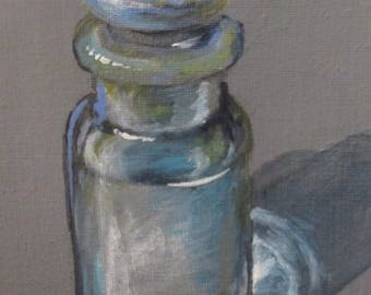 Glass Bottle - original daily painting by Kellie Marian Hill
