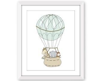 Safari Nursery Art -- Safari Hot Air Balloon -- Giraffe, Elephant, and Monkey -- Nursery Art Print