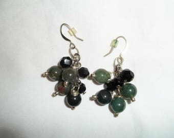 handmade olive army green cluster dangle hook earrings with plastic backing