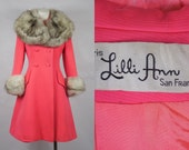 1960 Lilli Ann Mod Fuchsia Pink Coat with Full Fox Fur Collar and Cuffs