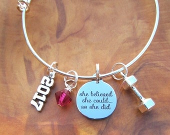She Believed She Could So She Did - 2017 Adjustable Bangle Bracelet -Inspirational, Strength, Fierce - Personalize - Choose any crystal