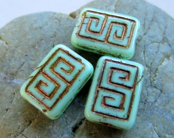 NEW MINTY REX . Czech Picasso Glass Beads . 13 by 9 mm (4+ beads)