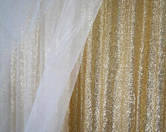 SALE 10 Ft X 20 Sequin Champagne Gold Backdrop Photo Prop Curtain