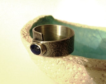 Lapis Lazuli ring, Paisley pattern, Sterling silver, handmade, OOAK, Christmas gift, birthday present, gift for her, minimalist ring, blue