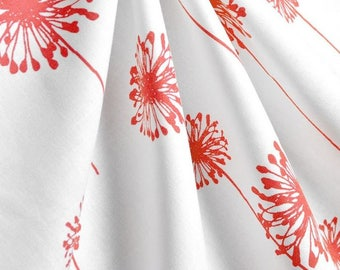 Coral Floral Table Runner Dandelion Print Runner Wedding Shower Table Centerpiece Coral and White Table Linens Decor