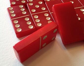 Red Bakelite Dominoes Catalin Dominoes by Cardinal Set of 18