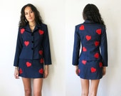 ON HOLD Heart Suit / Heart Jacket and Skirt / Navy Blue Suit / 90s Moschino Two Piece Sz XS