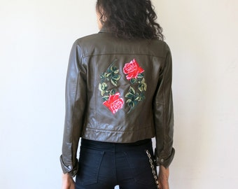 Rose Jacket / Brown Leather Jacket XS / Patch Jacket / Leather Jacket Sz XS