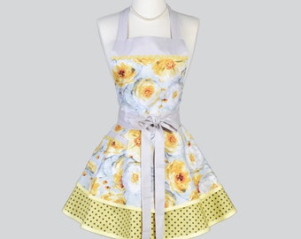 Ruffle Retro Woman Apron - Cute Spring Yellow and Grey Floral Vintage Style Full Kitchen Aprons to Personalize or Monogram as Gift for Her