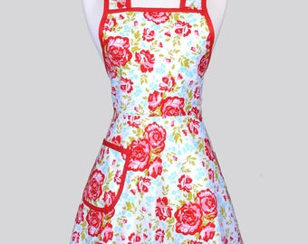 Retro Housewife Apron - Red and Turquoise Floral Womens Vintage Inspired Cute Full  Old Fashioned Housewife Kitchen Apron with Pockets