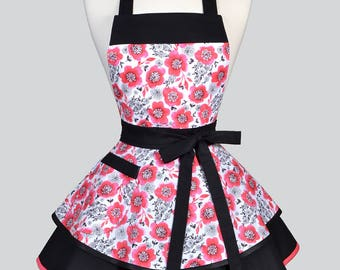 Womens Ruffled Retro Apron / Coral and Black Floral Womans Cute Vintage Style Pin Up Kitchen Apron with Pocket to Monogram or Personalize