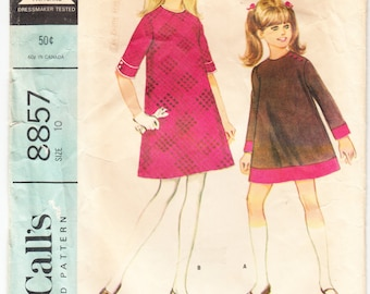 Vintage 1967 McCall's 8857 Sewing Pattern Girls' Dress In Two Versions Size 10