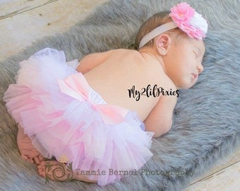 BABY TUTU Bloomer and Headband, Pink, light pink and white tutu, All around ruffle tutu, Newborn tutu, Baby Girl set, Baby girl headband