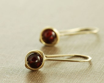 Garnet Drop Earrings in 14k Gold Fill, Simple Gold Garnet Birthstone Earrings