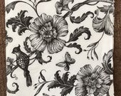 PN-198. Black flowers, Backgrounds, Price is for one napkin, Paper Napkins, napkins for decoupage, Flowers, For decoupage