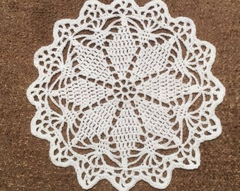 D-76(3). Crochet Doily, Small White lace Doily, Christmas Ornaments, Crochet Lace Doily, Round Doily, Wedding decor, Mother's Day
