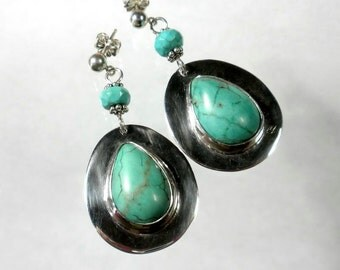 Genuine Turquoise Earrings Turquoise Drop Earring Large Turquoise Earrings Silversmith Bezel Sterling Silver