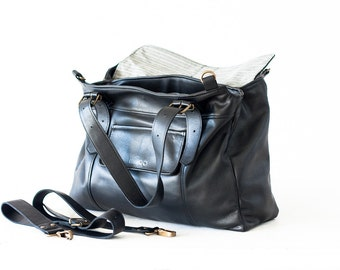 Work laptop tote bag in black leather, women crossbody over shoulder purse leather tote work tote bag-Ophelia bag