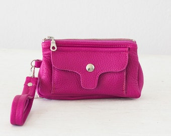 Wristlet wallet phone case in hot pink leather, womens wallet clutch cellphone case zipper wallet - Thalia Wallet