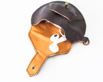 Dark brown leather case for earphones, earbuds pouch headphone holder cable holder organizer earphone keeper coin purse