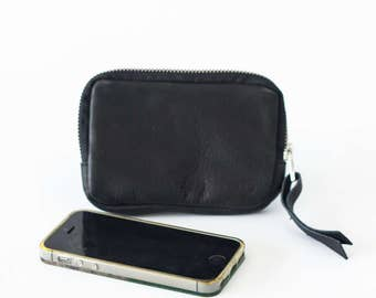 Zipper phone case black leather, coin purse zipper phone case money bag credit card purse- The Myrto Zipper pouch