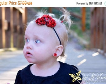 30% OFF SPRING SALE Red Headband, Red Damask, Newborn Headband , Baby Headband, Infant Headband, Flower Girl, Baby Shower Gift, Birthday Bow