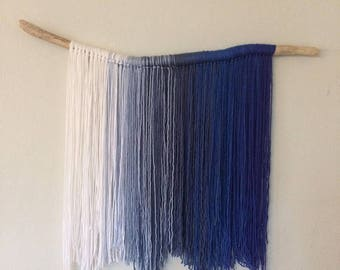 Ivory to Indigo Yarn Wall Hanging