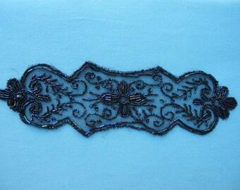 1920s Dress Trim Glass Bead Work Beadwork Beaded Embellishment On Silk Net Iridescent Deep Blue