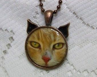 Orange Cat Pendant - Orange cat with pink nose - Orange Tabby Cat jewelry - Cat Necklace - Kitty - Cat Head jewelry - Pet lover art - Kitten