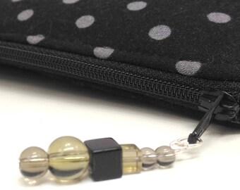 Zipper Makeup Bag / Black Make Up Case / Zipper Pouch / Travel Pouch Bag / Black Travel Case / Polka Dot Zip Pouch / Gift For Mom