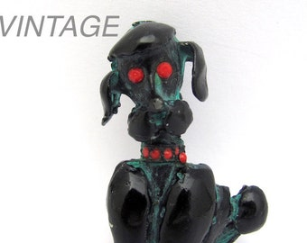 Vintage French Poodle Pin, French Poodle, Dog Pin Brooch, Black Dog Jewelry, Red Rhinestone Pin, Black Enamel Vintage Jewelry, Dog Lover