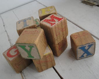 Vintage Large Wood Letter Blocks Set of 12