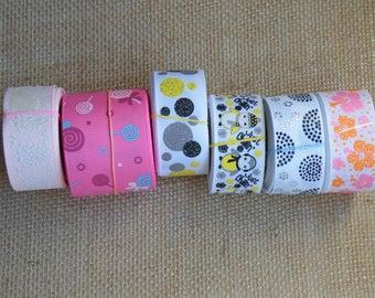 SALE LOT #38, 30 yards ribbon, Damask, Dots, Penguin, Hibiscus, Lollipops