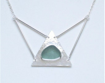Sea Glass Jewelry - Sterling Aqua Sea Glass Necklace