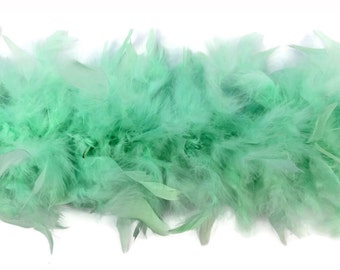 Chandelle Boa, 2 Yards - Mint Green Chandelle Feather Boa, 80 Gram : 4203